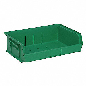 "Hang and Stack Bin, Green, 10-7/8"" Outside Length, 16-1/2"" Outside Width, 5"" Outside Height"
