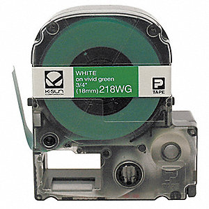"White on Green Polyester Cartridge Label, Indoor/Outdoor Label Type, 26 ft. Length, 3/4"" Width"