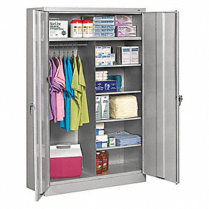 "Commercial Storage Cabinet, Light Gray, 78"" H X 48"" W X 24"" D, Assembled"