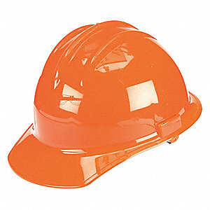Front Brim Hard Hat, 6 pt. Ratchet Suspension, Orange, Hat Size: 6-1/2 to 8