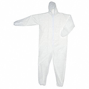 Hooded Disposable Coveralls with Elastic Cuff, White, XL, Polypropylene
