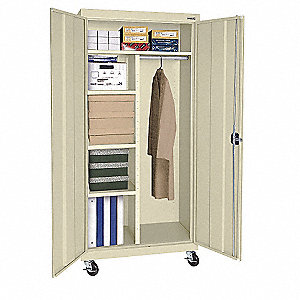 "Mobile Storage Cabinet, Putty, 78"" Overall Height, Assembled"