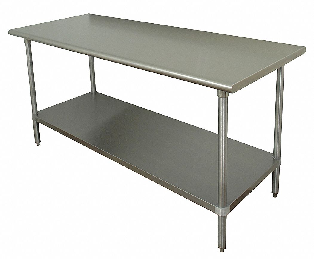 Fixed Height Work Table, Stainless Steel, 36 in Depth, 35 1/2 in Height, 72 in Width,630 lb Load Cap