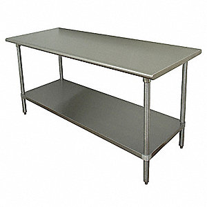 "Fixed Height Work Table, Stainless Steel, 36"" Depth, 35-1/2"" Height, 72"" Width,630 lb. Load Capacity"