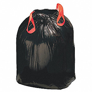 30 gal. Drawstring Trash Can Liner, Black, Coreless Roll, 200 PK