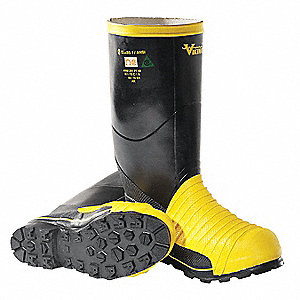 "16""H Unisex Mining Boots, Steel Toe Type, Rubber Upper Material, Black/Yellow, Size 6"