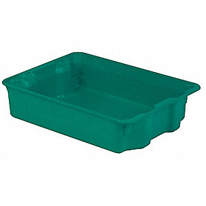 "Stack and Nest Container, Green, 6-1/8""H x 25-5/16""L x 18-1/8""W, 1EA"