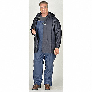"Men's Navy Polyurethane Rain Jacket with Hood, Size XL, Fits Chest Size 48"" to 50"""