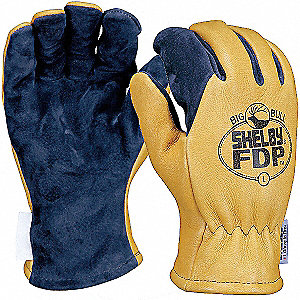 Structural Firefighters Gloves, Nomex Knit Cuff, Brushed Pigskin Leather