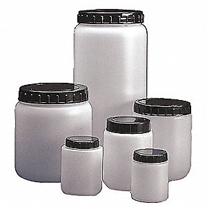 Wide Mouth, Cylindrical, HDPE, 125mL, 10 PK