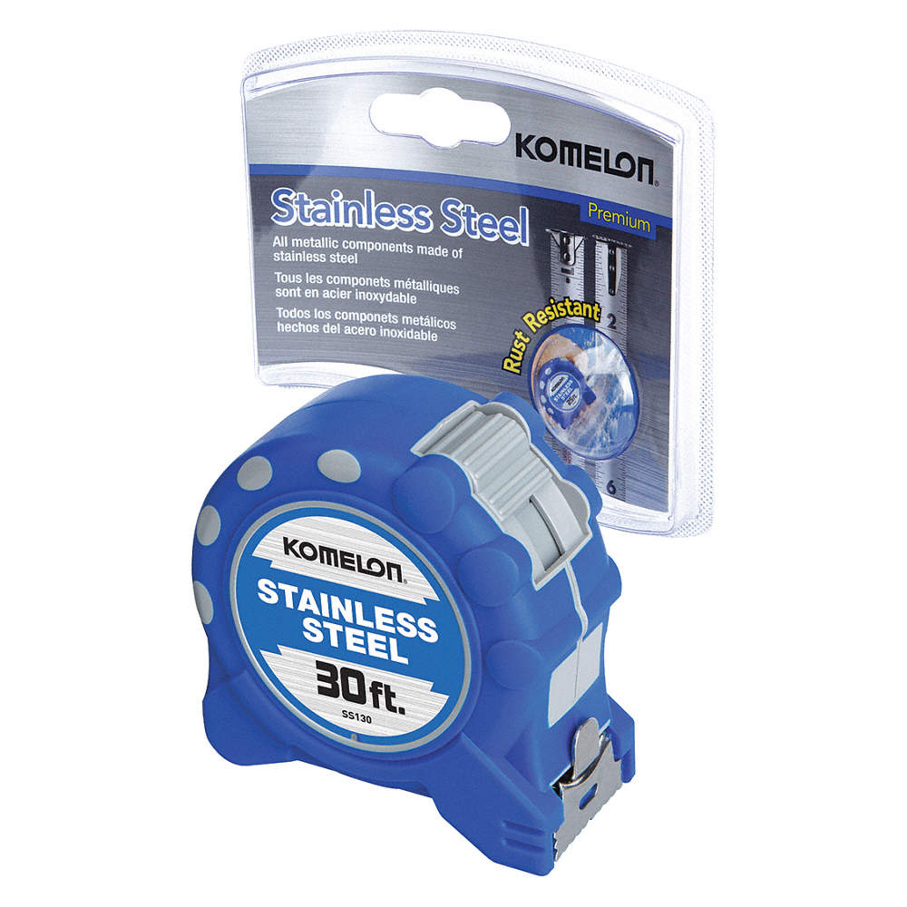 "1/"" Blade Tape Measure KOMELON SS130 30 ft Stainless Steel"