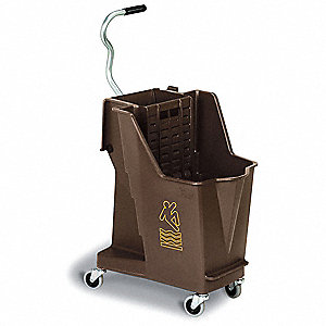 Bronze Plastic Mop Bucket and Wringer, 8-3/4 gal.