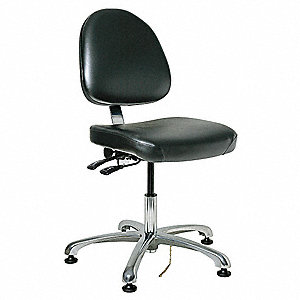 "Vinyl ESD Task Chair with 17"" to 22"" Seat Height Range and 300 lb. Weight Capacity, Black"