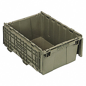 "Attached Lid Container, Gray, 9-5/8""H x 21-1/2""L x 15-1/4""W, 1EA"