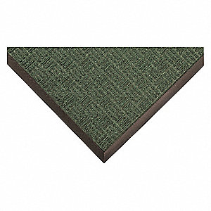 "Indoor Entrance Mat, 6 ft. L, 4 ft. W, 3/8"" Thick, Rectangle, Green"