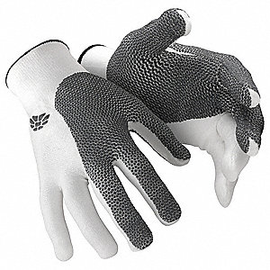 Cut Resistant Glove, ANSI/ISEA Cut Level 5, HPPE Lining, Gray, White, XL, EA 1