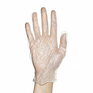 Disposable Gloves,Vinyl,L,White,PK100