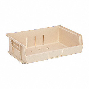 "Hang and Stack Bin, Ivory, 10-7/8"" Outside Length, 16-1/2"" Outside Width, 5"" Outside Height"