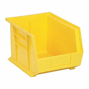 "Hang and Stack Bin, Yellow, 10-3/4"" Outside Length, 8-1/4"" Outside Width, 7"" Outside Height"