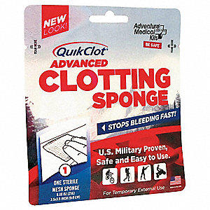 Clotting Gauze,3-1/2in x 3-1/2in