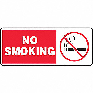 No Smoking Sign,7 x 17In,R and BK/WHT