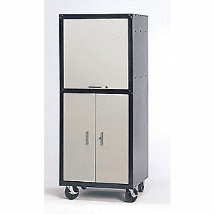 26  x 24  x 64  Steel Mobile Computer Cabinet Black/Light Gray  sc 1 st  Grainger & Computer Cabinets - Shop Furniture - Grainger Industrial Supply