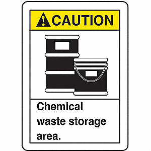 "Chemical, Gas or Hazardous Materials, Caution, Aluminum, 14"" x 10"", Not Retroreflective"