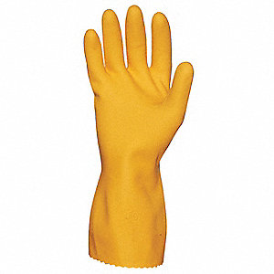 Natural Rubber Latex Gloves, 21 mil Thickness, Flock Lining, Size S, Orange, PK 12