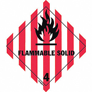 Flammable Solid, Class 4 Vinyl, Self-Sticking DOT Label