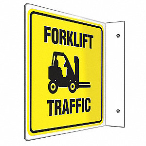 "Lift Truck Traffic, No Header, Plastic, 8"" x 8"", With Mounting Holes, L-Shaped, Not Retroreflective"