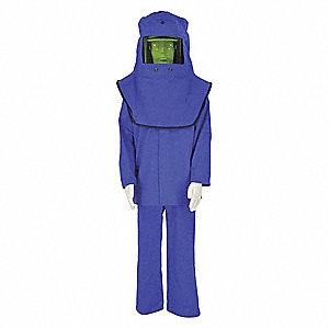 25.0 cal./cm2 Flame-Resistant Coverall Kit, 3-HRC, Blue, L