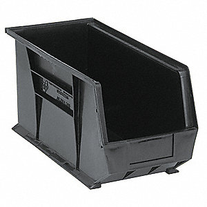 "Hang and Stack Bin, Black, 18"" Outside Length, 8-1/4"" Outside Width, 9"" Outside Height"