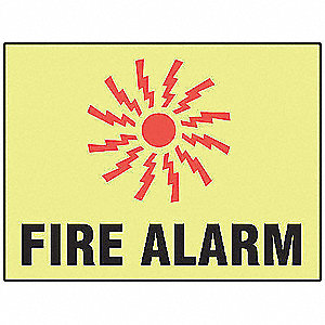 Fire Alarm Sign,7 x 10In,R and BK/YEL