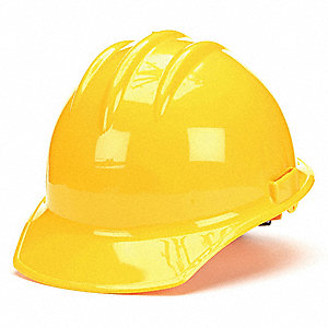 Front Brim Hard Hat, 6 pt. Ratchet Suspension, Yellow, Hat Size: 6-1/2 to 8