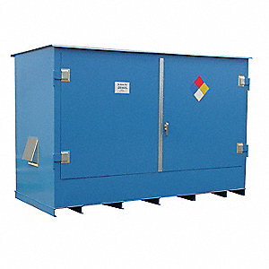 "153"" x 70"" x 88"" Steel Outdoor IBC Tote Locker with No Fire Rating, Blue"
