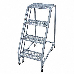 "4-Step Rolling Ladder, Expanded Metal Step Tread, 40"" Overall Height, 450 lb. Load Capacity"