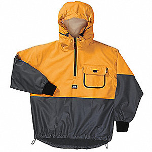 "Men's Yellow/Black Polyurethane Rain Jacket with Hood, Size 2XL, Fits Chest Size 52"" to 54"""