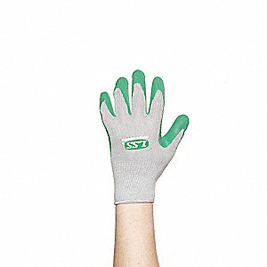 Natural Rubber Latex Coated Gloves, Size M, Gray/Green