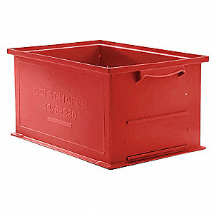 Solid Wall Stacking Cntner,19x13x12,Red