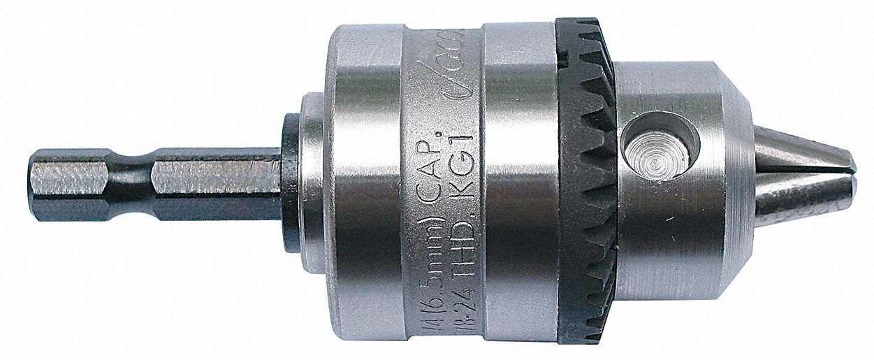 Drill Chuck,  Hex,  Mounting Size 1/4 in,  Max. Drill Capacity 1/4 in