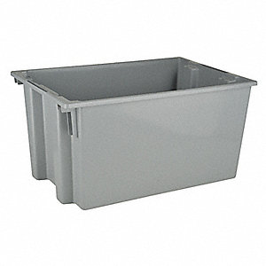 "Stack and Nest Container, Gray, 15""H x 29-1/2""L x 19-1/2""W, 1EA"