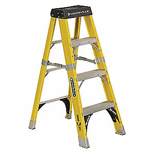 Stepladder,Fiberglass,4 ft. H,375 lb Cap