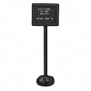 "11"" H x 14"" W Black Plastic Cover for Pedestal Board, Letter Board Style"
