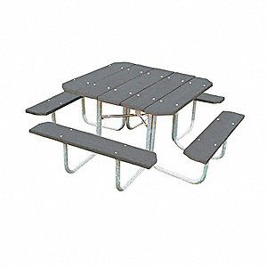 "Picnic Table,76"" W x76"" D,Gray"