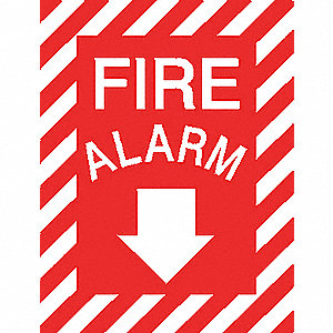 Fire Alarm Sign,12 x 9In,WHT/R,Fire ALM
