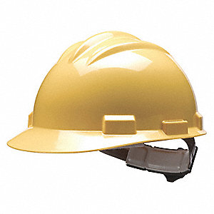 Front Brim Hard Hat, 4 pt. Pinlock Suspension, Yellow, Hat Size: 6-1/2 to 8