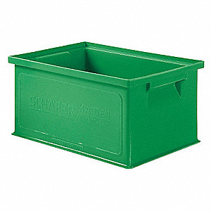 "Straight Wall Container, Green, 6""H x 13""L x 9""W, 1EA"