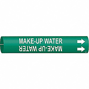 Pipe Marker, Make Up Water, Grn, 4 to 6 In