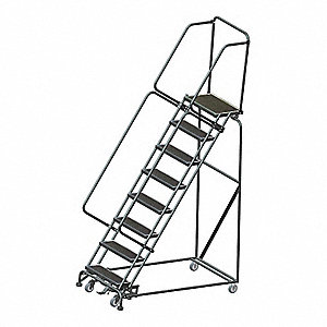 "8-Step Rolling Ladder, Abrasive Mat Step Tread, 113"" Overall Height, 450 lb. Load Capacity"