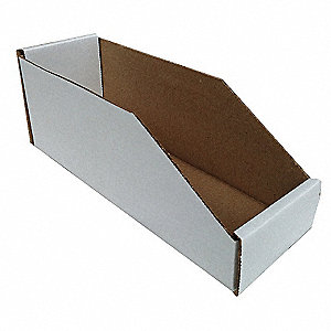 "Corrugated Shelf Bin, 200 lb. Test Rating, White, 4-1/2""H x 12""L x 2""W, 1EA"